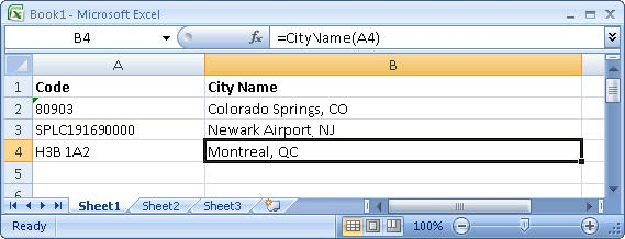 PC Miler Excel Interface - City Function